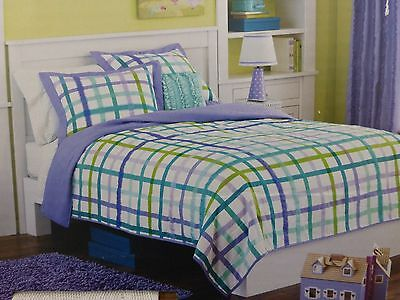 2 Pcs Circo Purple Plaid Collection Twin Quilt And Sham