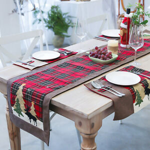 35x180cm-Christmas-Cotton-Table-Runner-Vintage-Tablecloth-Red-And-Brown-Plaid