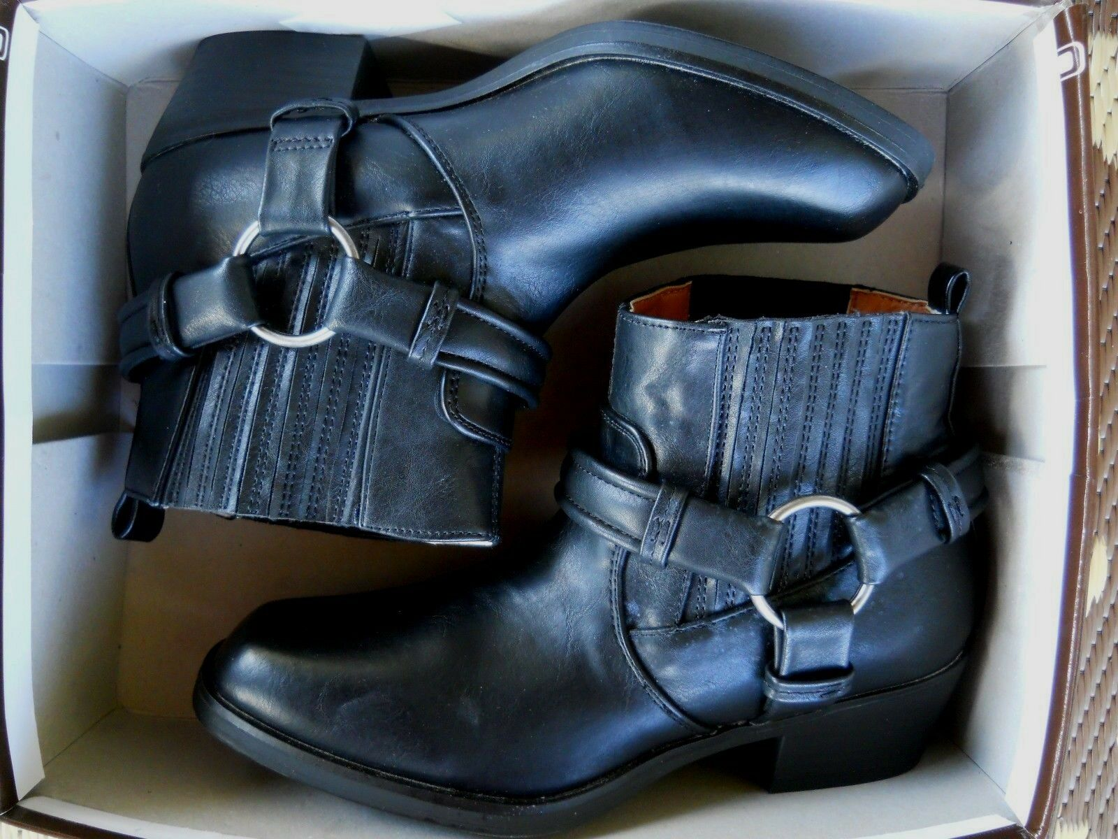 ESPRIT HAVEN BLACK MOTO STYLE PULL-ON BOOTIES ANKLE BOOTS ~ 6.5M