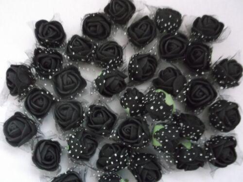 36 kl künstliche ROSENBLÜTEN  schwarz im TÜLLMANTEL ! schwarze  FOAM-ROSEN