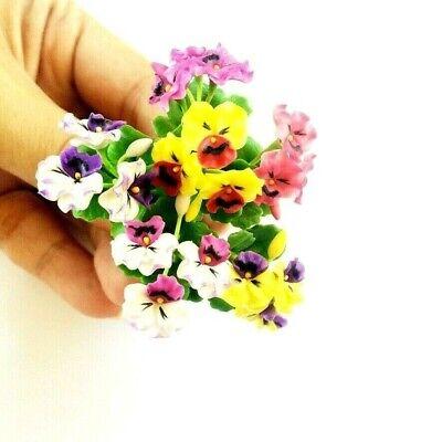 6 Clay Gloxinia Colorful Artifical Flowers Dollhouse Miniature Handicraft 1:12