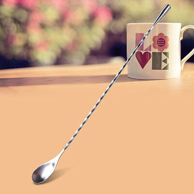 Stainless Steel Cocktail Coffee Tea Soup Twist Bar Puddler Drink Spoon Mixer