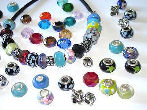 10 20 50 Großloch Perlen European Beads für Armband Wechselschmuck 4mm Lochgröße
