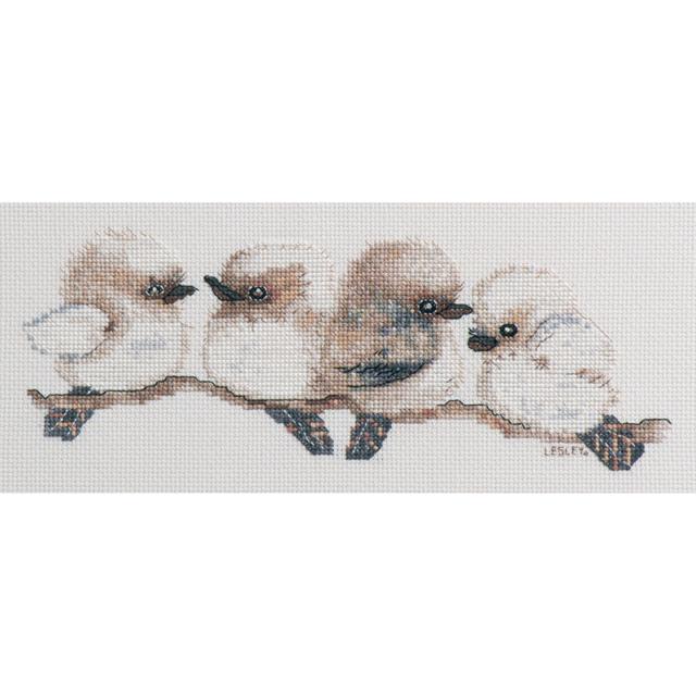 Kookaburras cross stitch kit by Lesley Suzanne Davies 16ct aida 23 x 9 cm DMC