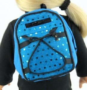 Blue-Sequins-Backpack-for-15-034-18-034-Doll-Clothes-Accessory-American-Girl-Lovvbugg