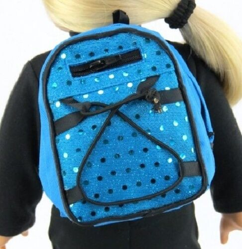 "Blue Sequins Backpack for 15/"" 18/"" Doll Clothes Accessory American Girl Lovvbugg!"
