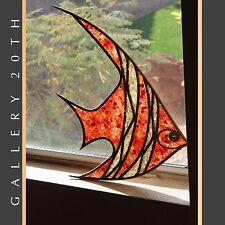 MID CENTURY MODERN TRANSLUCENT FISH WALL ART! Atomic Orange Wood 50s Sculpture