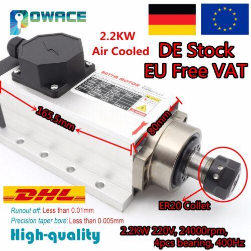 ◤AT DE◢ 2.2KW ER20 Luftgekühlter Spindelmotor 6A 24000rpm 220V Gravur Fräsmotor