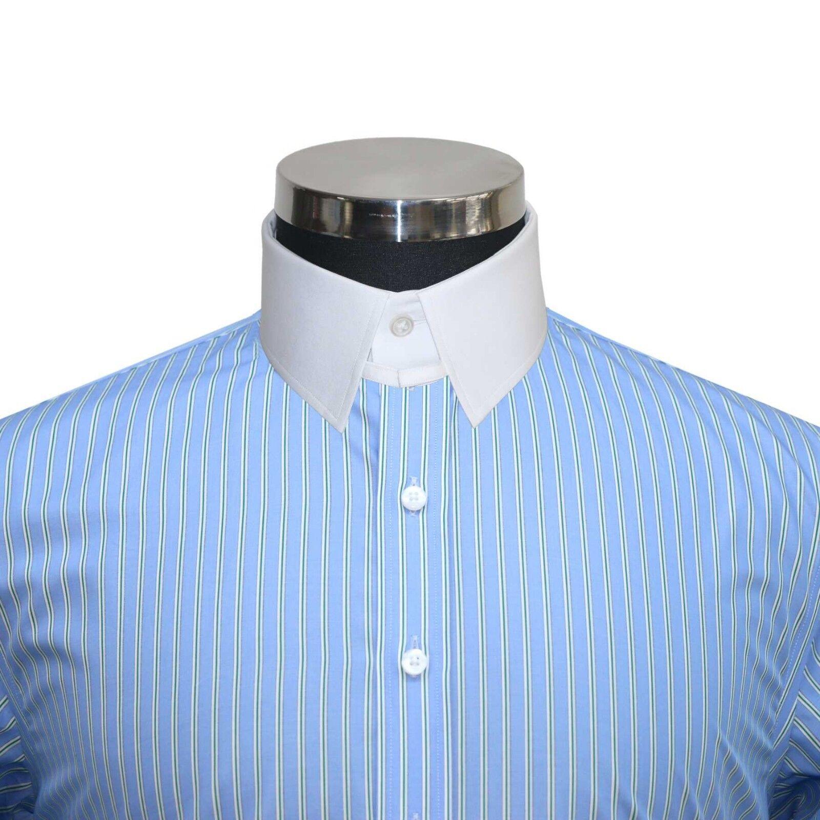 Herren Tab Kragen Hemd James Bond Lite Blau Grün Streifen Baumwolle Schleife