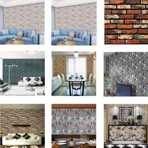 Details zu 3D Ziegel Stein PVC selbstklebende Wand Aufkleber Panel Tapete  Wohnzimmer Dekor
