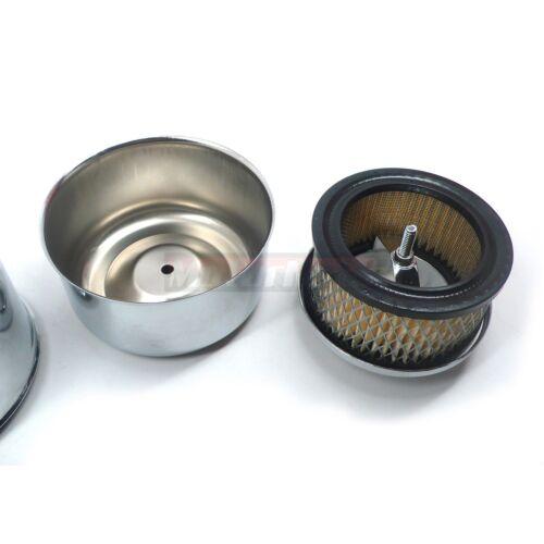 """3x Chrome Plain 4-5//8/"""" Air Cleaners Tri Three Power Deuce Intake 1 /& 2 BBL Chevy"""