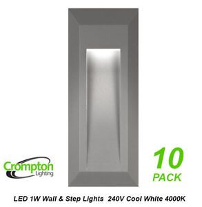 10-x-LED-Step-amp-Wall-Lights-Grey-Surface-Mount-Exterior-240V-1W-Cool-White