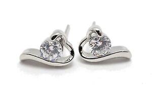Silver-Plated-Round-Zircon-Earring-Heart-Shape-Wedding-Stud-Earrings-For-Women