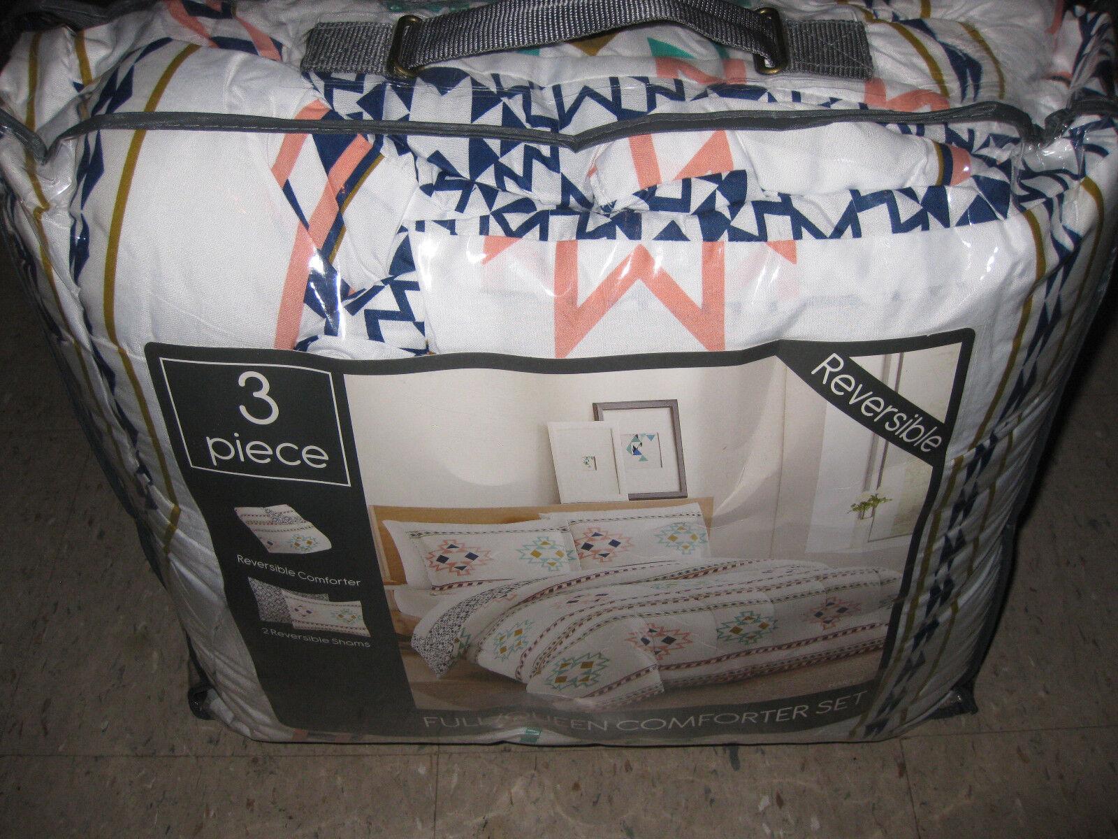 NEW- Multi Blau REVERSIBLE- 3 PIECE Queen Full Comforter Bed Set 2 pillow sham