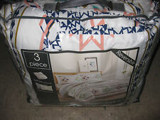 $87 NEW Multi blue REVERSIBLE 3 Piece Queen Full Comforter Bed Set 2 pillow sham