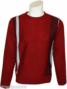 Pop Stripe Racing Jumper Retro 60s Classic Knitted Art Fine Mod Red Relco Mens qxpXYwXP