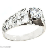 Hawaiian Heirloom Jewelry 14k White Gold Cubic Zirconia Wedding Engagement Ring