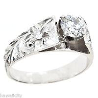 Hawaiian Heirloom Jewelry 14k White Gold Cubic Zirconia Wedding Engagement Ring