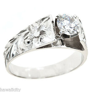 image is loading hawaiian heirloom jewelry 14k white gold cubic zirconia - Cubic Zirconia Wedding Rings