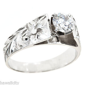 Image Is Loading Hawaiian Heirloom Jewelry 14k White Gold Cubic Zirconia