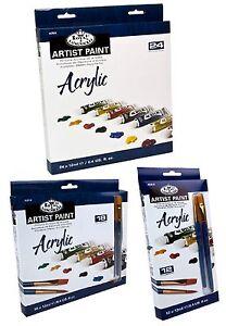 ROYAL-LANGNICKEL-12ml-TUBES-ACRYLIC-ARTIST-PAINTS-amp-BRUSH-SETS-PACKS-12-18-24