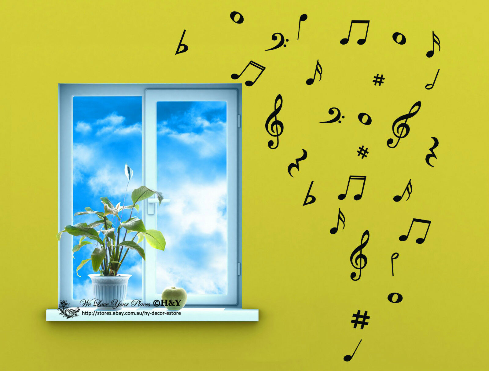 Removable Music Notes Musical Notation Vinyl Decal Wall Sticker ...