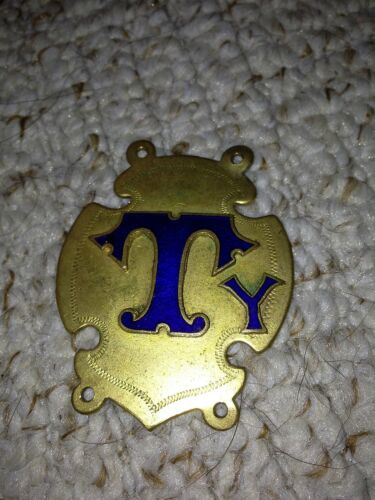 old brass & blue enamel buffalo's badge city tylers collar of office badge
