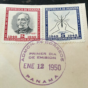 PANAMA-Carlos-Finlay-MD-Yellow-Fever-RARE-First-Day-Cover-2-amp-5-Cent-Stamps-FDC