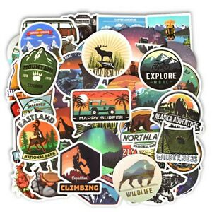 50 PCS Camping Landscape Stickers Outdoor Adventure Climbing Travel Waterproof