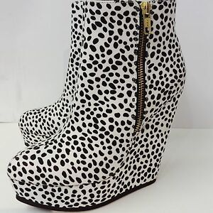 Timeless-White-black-Dalmatian-Spot-Platform-Wedges-Brand-New-Size-8-UK-41-EU