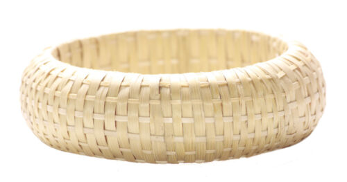 Zx145 Intricate Hand Woven//chunky Crème Bamboo Hand Bangle Charismatic