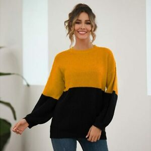 Tops-T-Shirt-Loose-Long-Sleeve-Knitted-Casual-Jumper-Knitwear-Knit-Shirt-Sweater