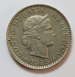 20 Rappen 1939 Kupfer Nickel Münze Confoederatio Helvetica Schweiz