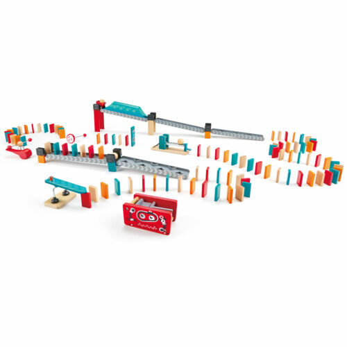 Hape Robot Factory Kids 122 Piece Wooden Domino Track Game Set Learning STEM Toy