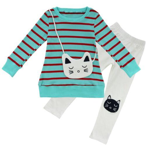 UK 2Pcs Toddler Girls Tops Shirt Pants Leggings Striped Outfits Kids Costume