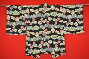 Vintage-Japanese-Kimono-Silk-Antique-BORO-HAORI-Kusakizome-Dyde-XX74-490