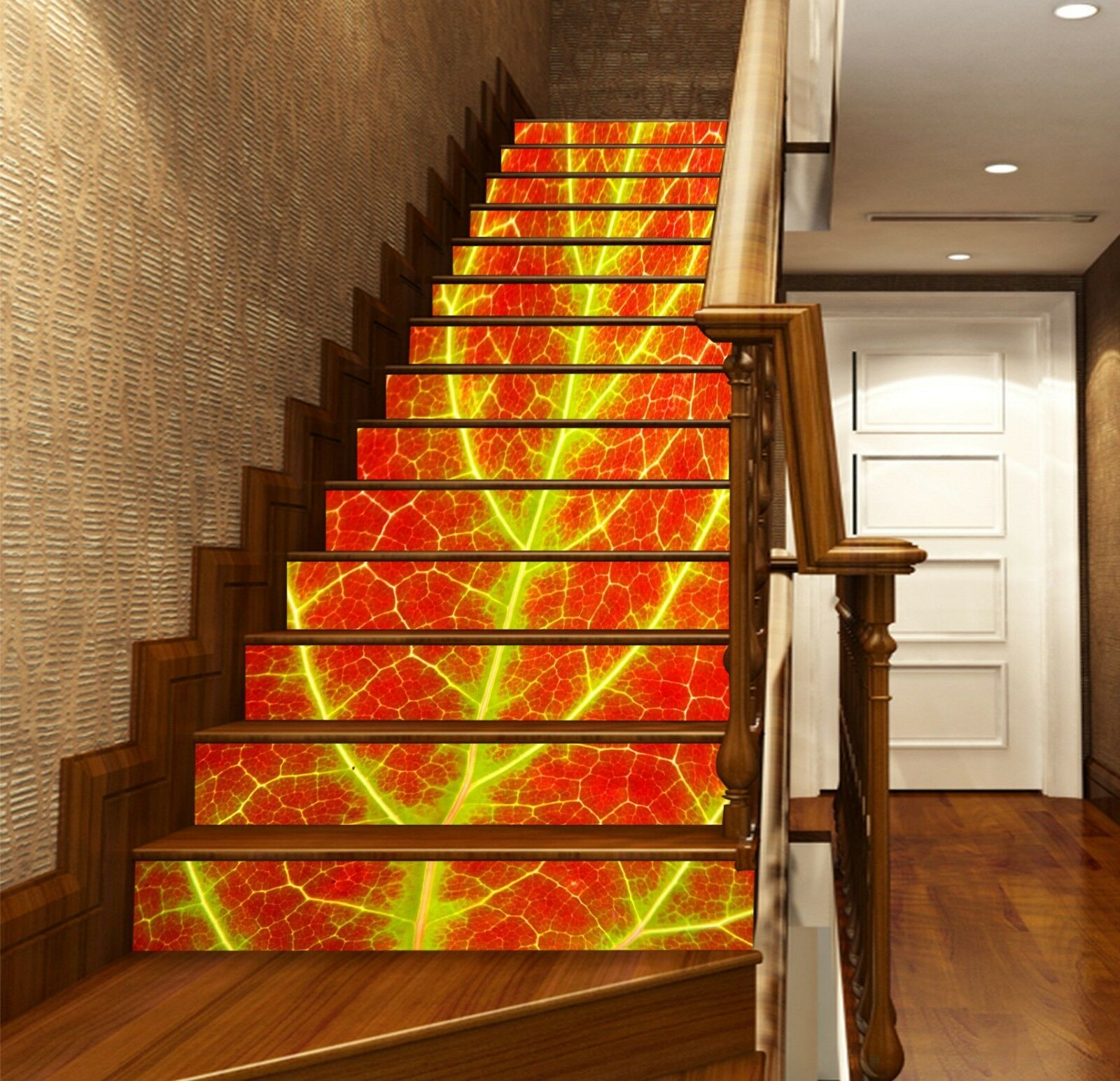 3D gold Leaves Stair Risers Decoration Photo Mural Vinyl Decal Wallpaper US
