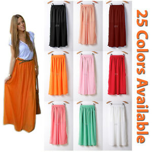 Women-Maxi-Skirt-Double-Layer-Chiffon-Pleated-Retro-Long-Dress-Elastic-Waist-New
