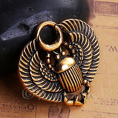 Egyptian Scarab Beetle Antiqued Gold Plated Charms C6601-5 10 or 20PCs