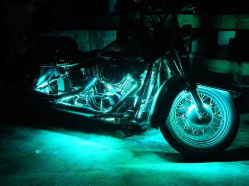 Wireless Remote 18 Color Change Led Cross Bones Motorcycle 6pc Led Light Kit