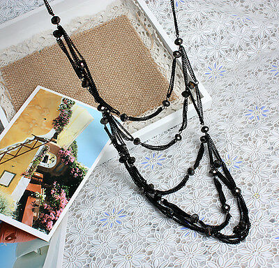 Fashion Jewellery Black Chain Crystal Beads Long Necklace For Womens Ladies