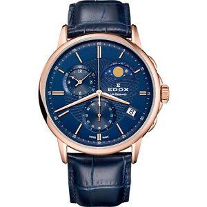 NEW-Edox-Les-Bemonts-Men-039-s-Moon-Phase-Calendar-Watch-01651-37R-BUIR