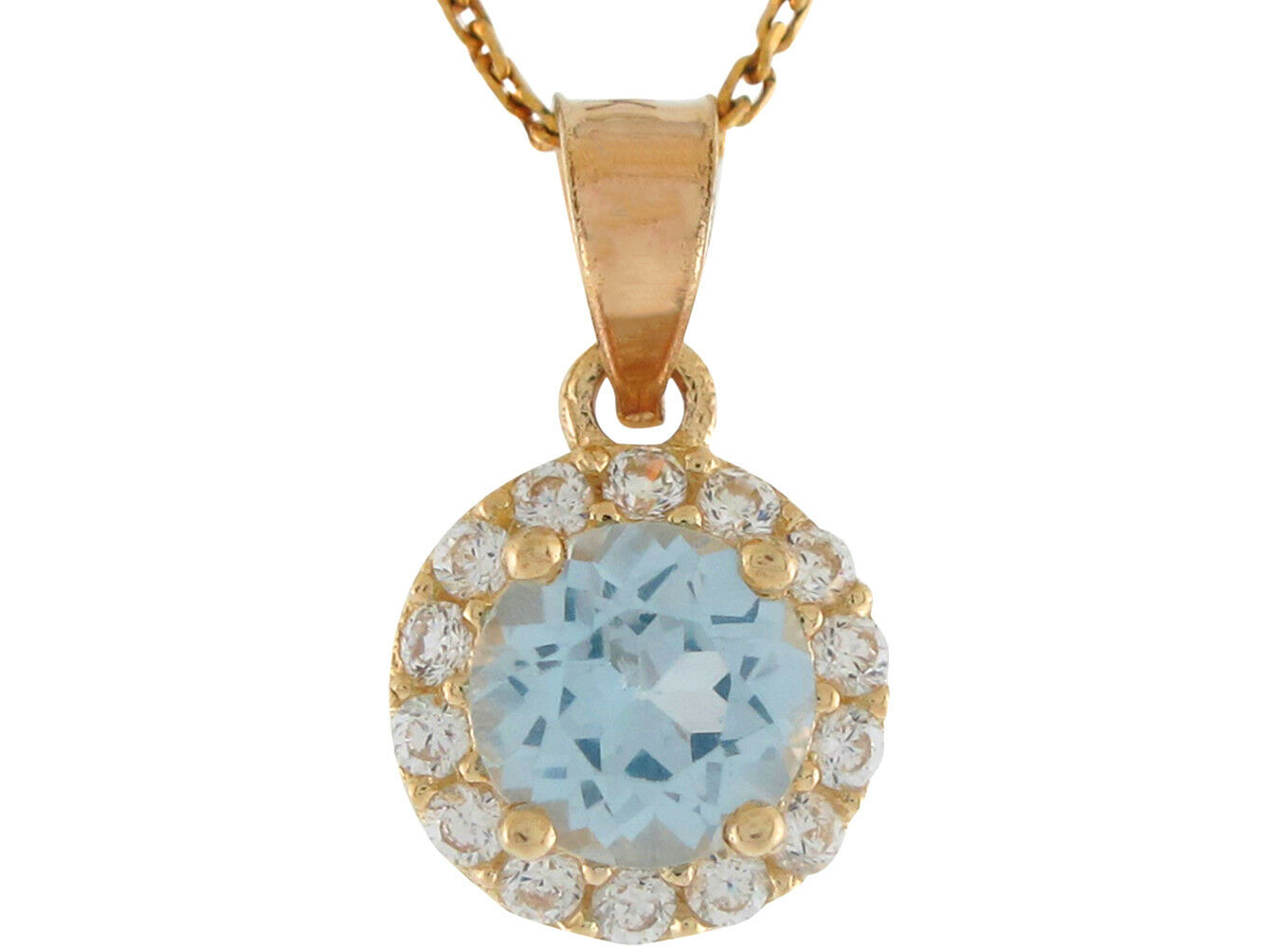 10k or 14k Yellow gold Round Simulated Aqua CZ Ladies March Birthstone Pendant
