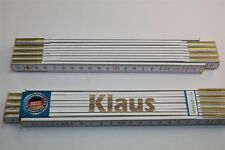 Zollstock mit Namen  KLAUS Lasergravur 2 Meter Handwerkerqualität