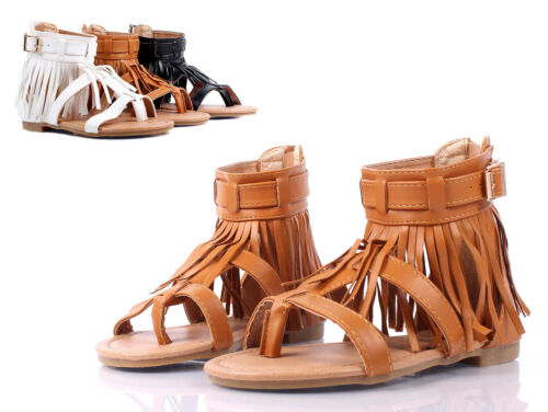 Tan Indian Style Fringe Kids Girls Gladiators Sandals Youth Shoes Size 9