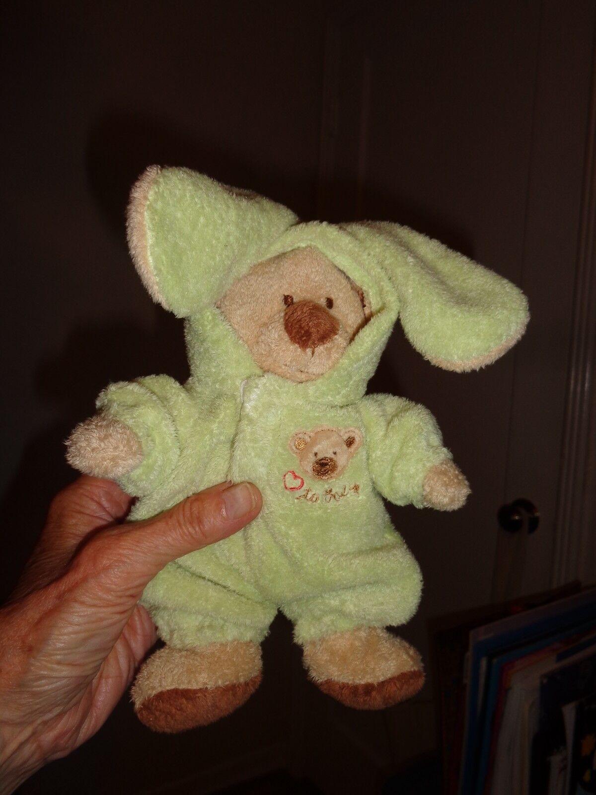 Ty PJ Bear Pluffies 8  Green Removable Pajamas Stuffed Animal Plush 2004 RARE