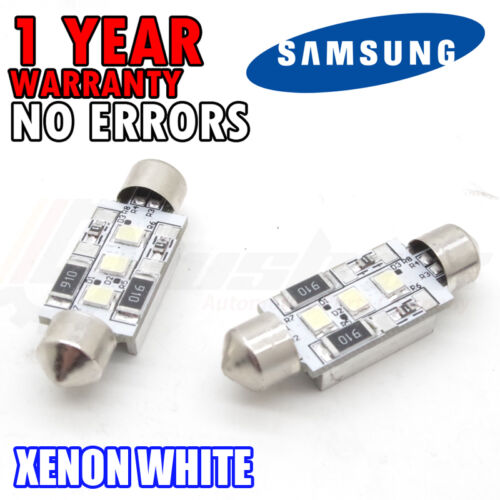 * 2x 36mm NUMBER PLATE INTERIOR 6000k BRIGHT WHITE 3 SMD LED C5W FESTOON BULB UK