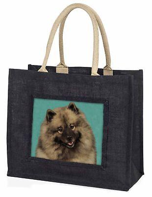 Keeshond Hund große schwarze Einkaufstasche Weihnachten Geschenkidee, ad-kee1blb