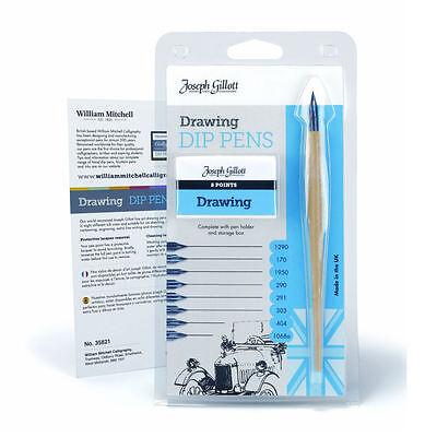Joseph Gillott Ink Dip Pen 8 Nib Drawing Set