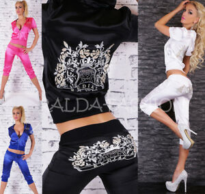 Ladies-Redial-Leisure-Satin-Azug-2-Piece-Jacket-Capri-Pants-Embroidery-S-M-L